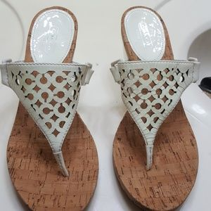 Coach white cork thong wedge sandals